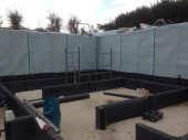 Waterproof membrane at the setting out stage