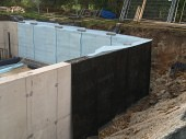 Waterproof membrane in a basement in a new build property